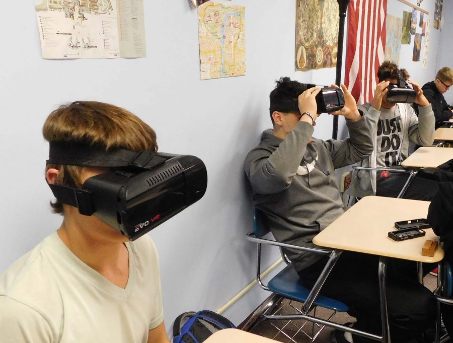 Students learning through Virtual Reality in Ms. Careys class.