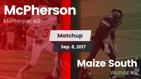 McPherson Bullpups on the left and Maize South Mavericks on the right.