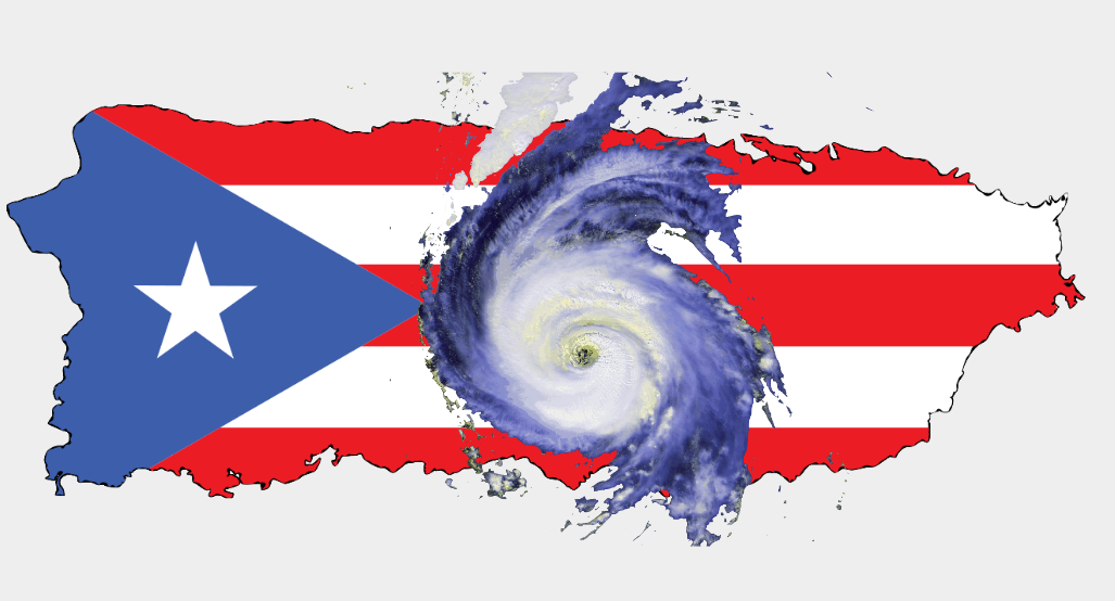 Puerto Rico being attacked by a hurricane