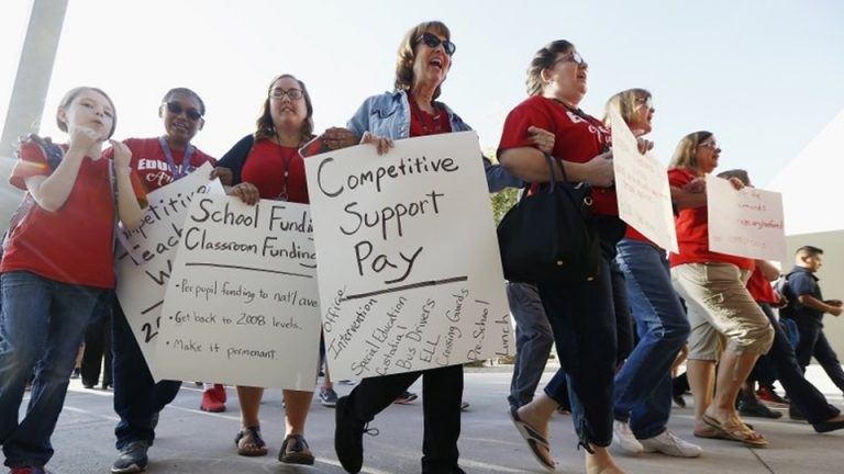 Teachers go on strike in Arizona.