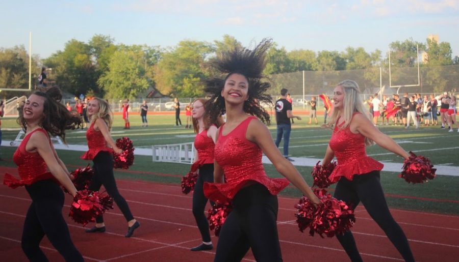The MHS Hi-Steppers performing for the very first time this season at the Fall Sports Preview.
