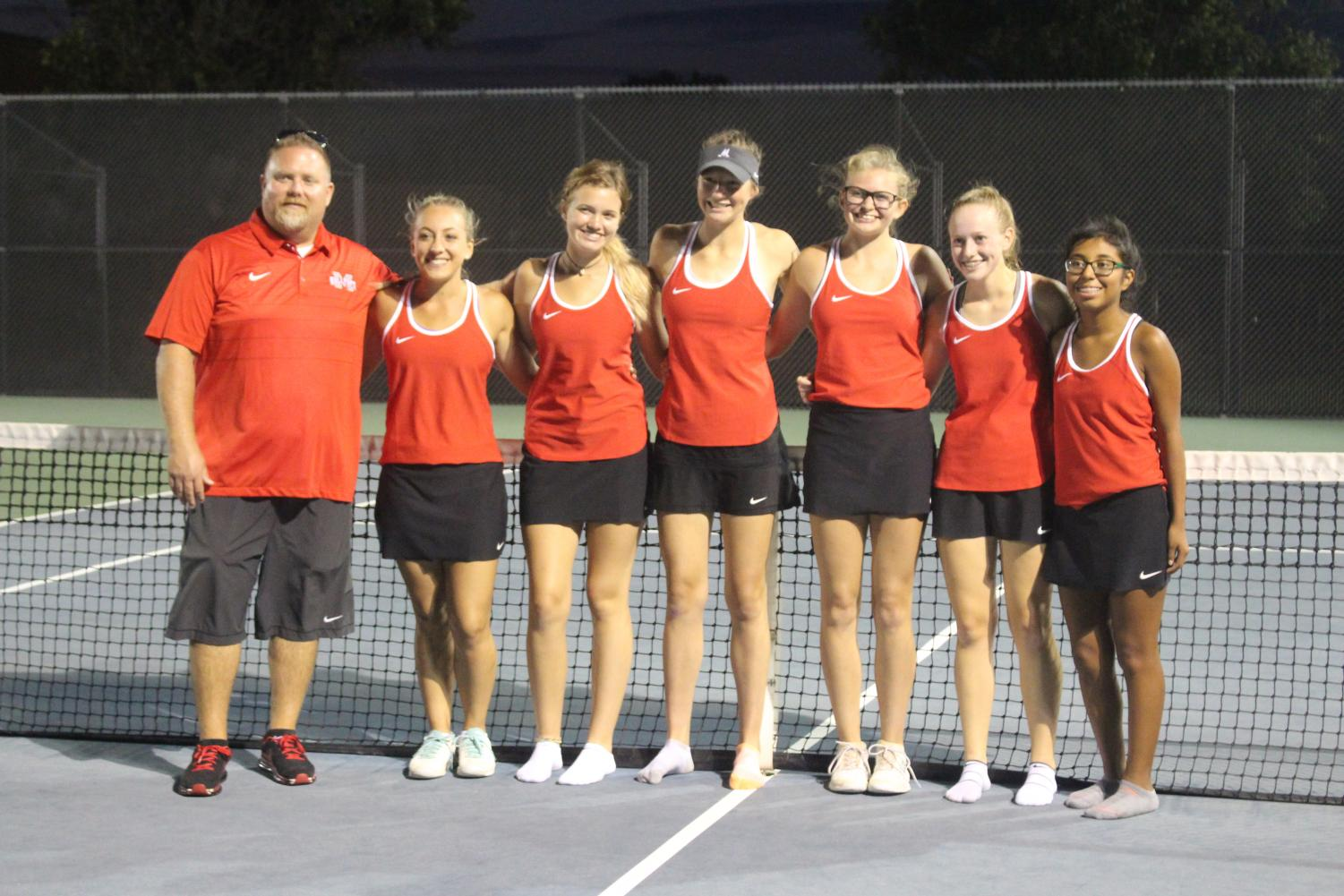 McPherson Varsity Tennis Left to Right :: Coach Brown, Ashley Achilles, CeAnna Allen, Taylor Bruce, Rachel Carlson, Carley Malm, Patty Huerta