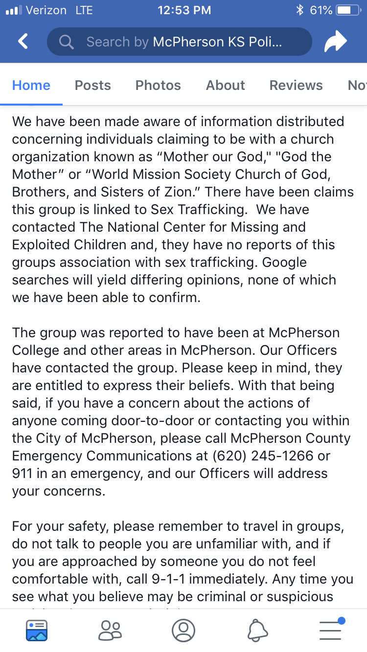 Screen shot of the police post/statement on facebook.