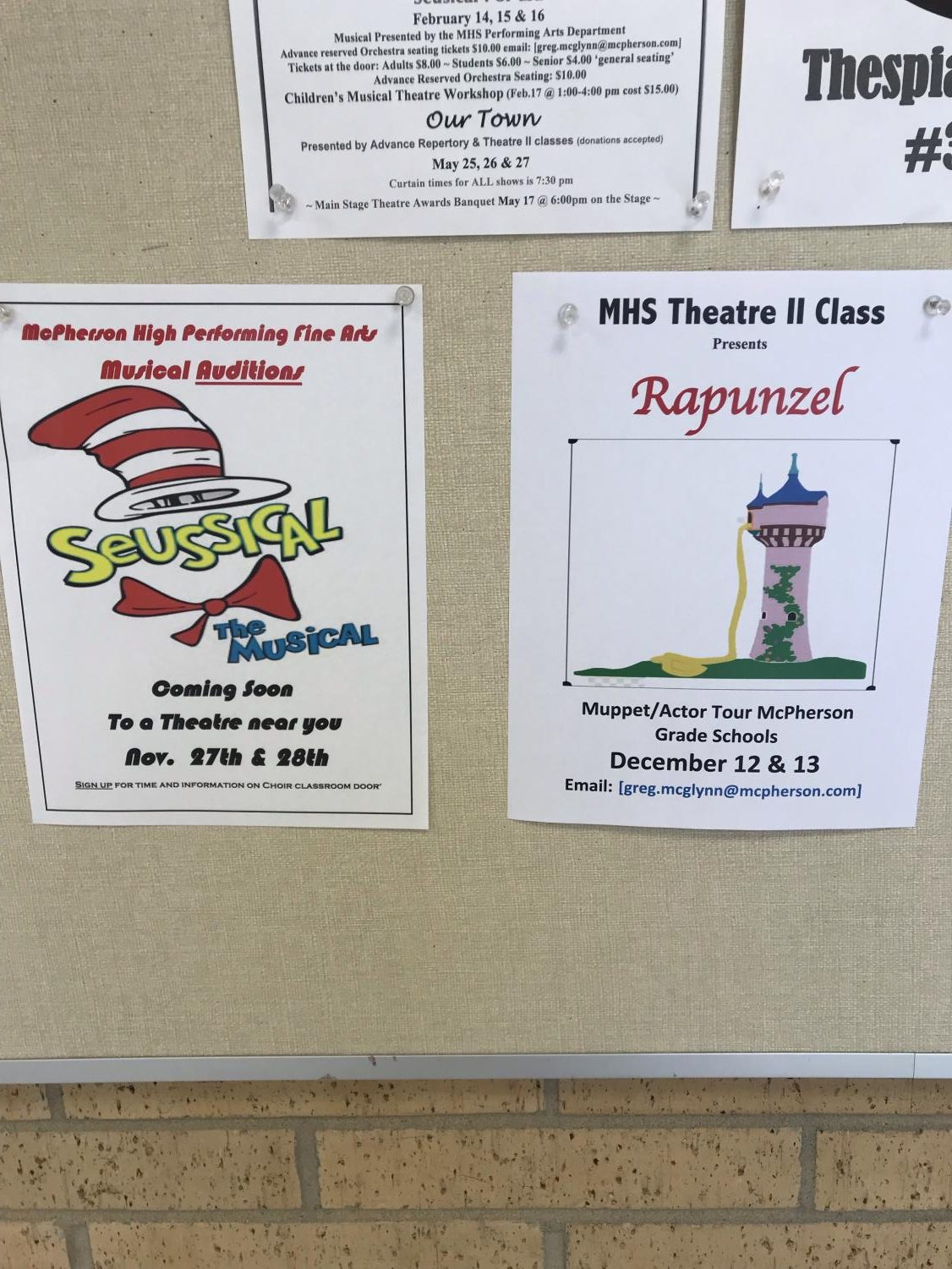 The Seussical and Rapunzel flyers in the McPherson High School.