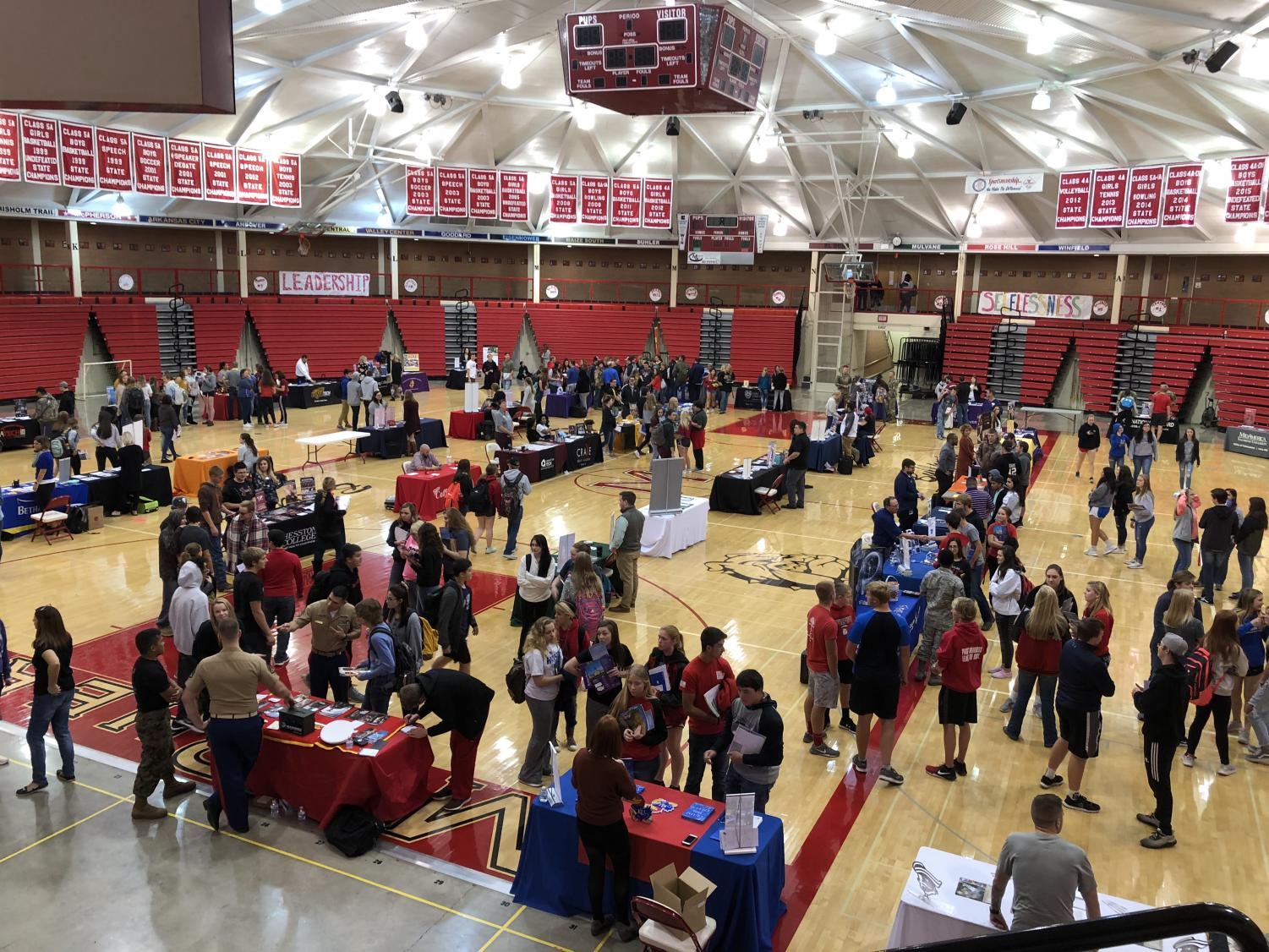 Students at the college fair.