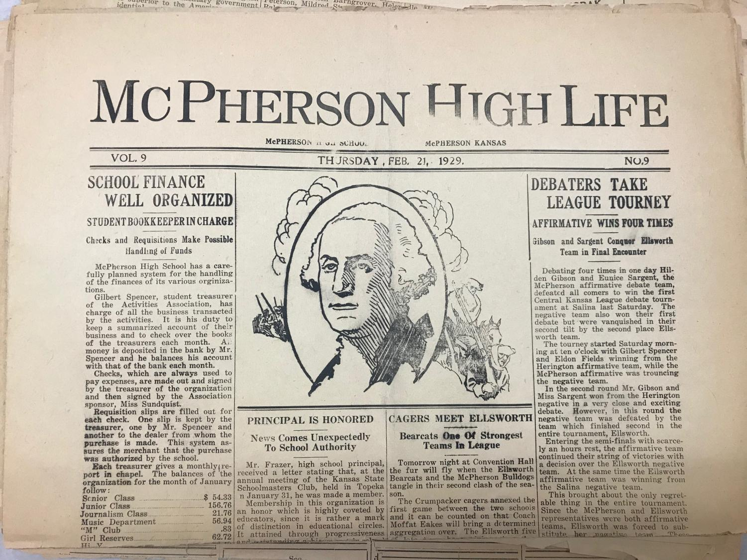 One of the High Life's newspapers from 1929.