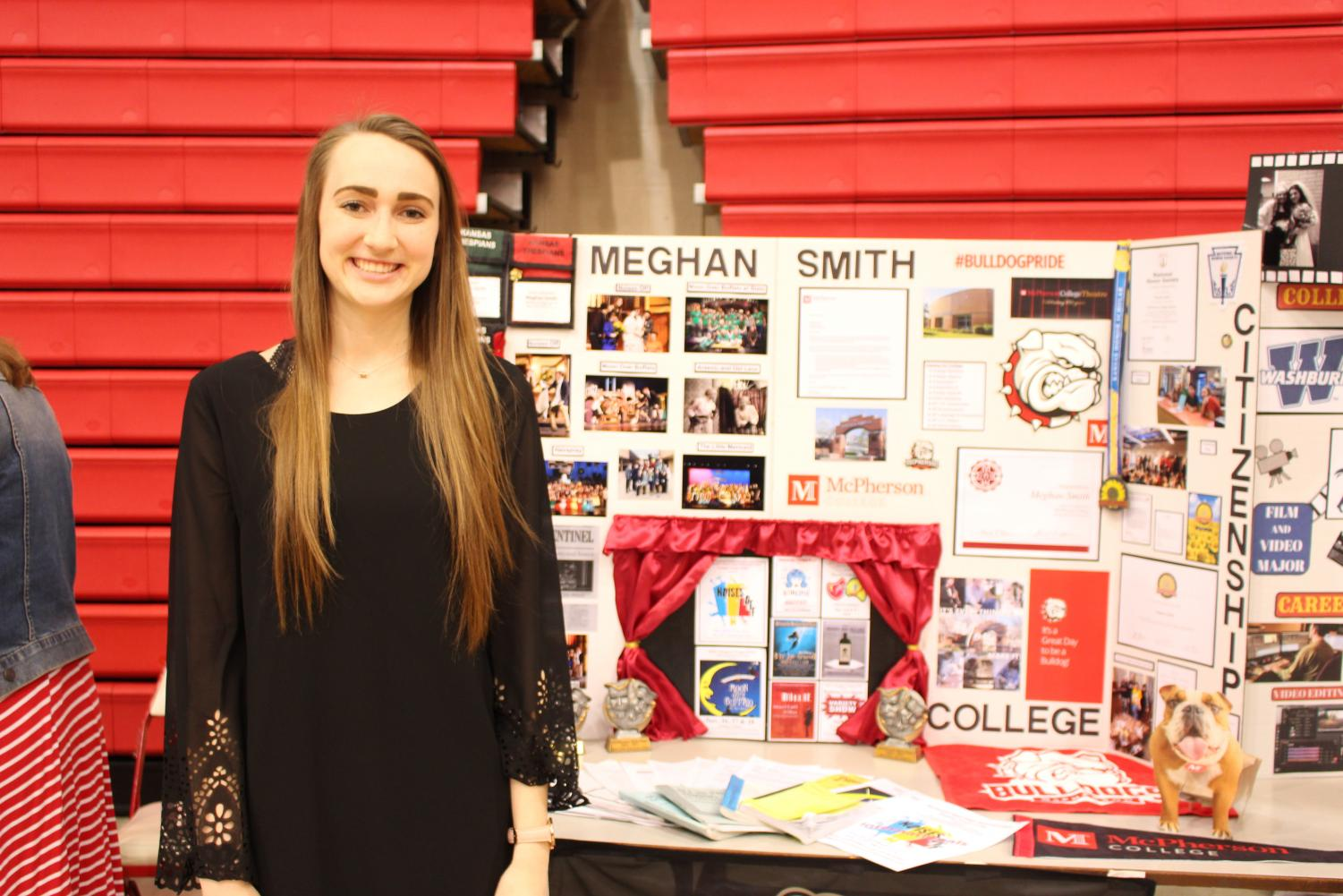 Meghan+Smith+showcases+her+many+acomplisments+and+where+she+is+going+to+college.+