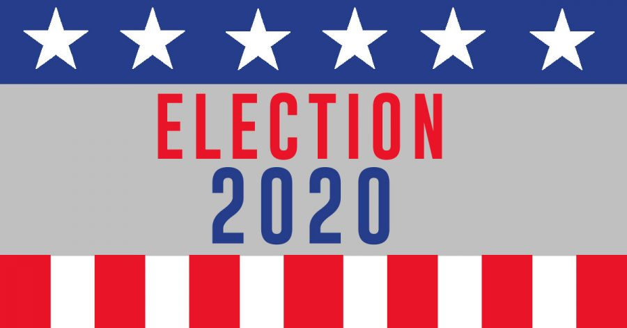 One+of+the+2020+United+States+Of+America+presidential+campaign+election+banner.