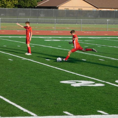 Tito Mendez taking a free kick in the second quarter.