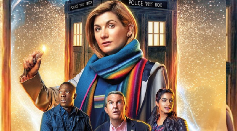 The Doctor (Jodie Whittaker), Ryan Sinclair (Tosin Cole), Graham O'Brien (Bradley Walsh), and Yasmin Khan (Mandip Gill) in Doctor Who, Season 12 Promotional Poster