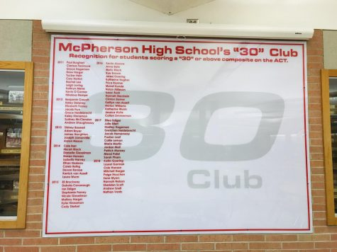 "McPherson High School recognizing the students that have scored a ""30"" or above on their ACT."