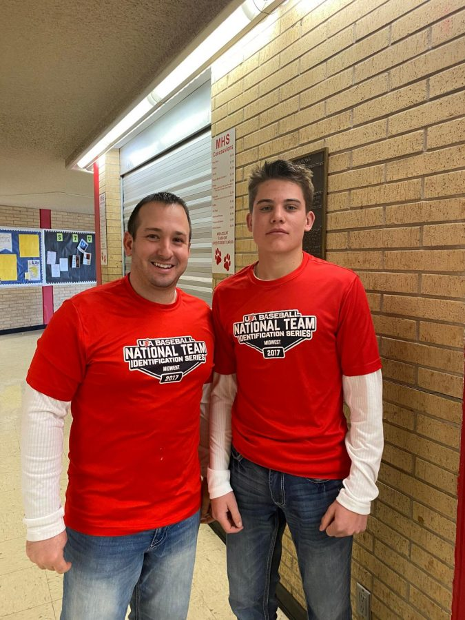 Freshman, Hunter Alvord and Biology teacher, Heath Gerstner twinning on Mike and Ike Monday. In honor of Winter Homecoming spirit week, on Monday, February 10th, 2020.