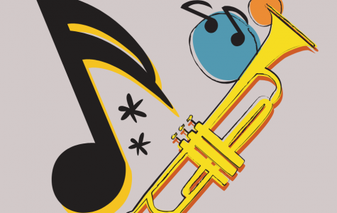 Edited design of an eighth note and a trumpet.