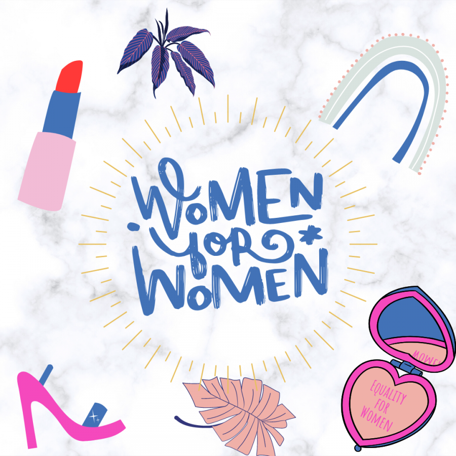 Womens+History+Month+Info+graphic+made+with+Canva.++Lipstick+and+other+decals+presented.+